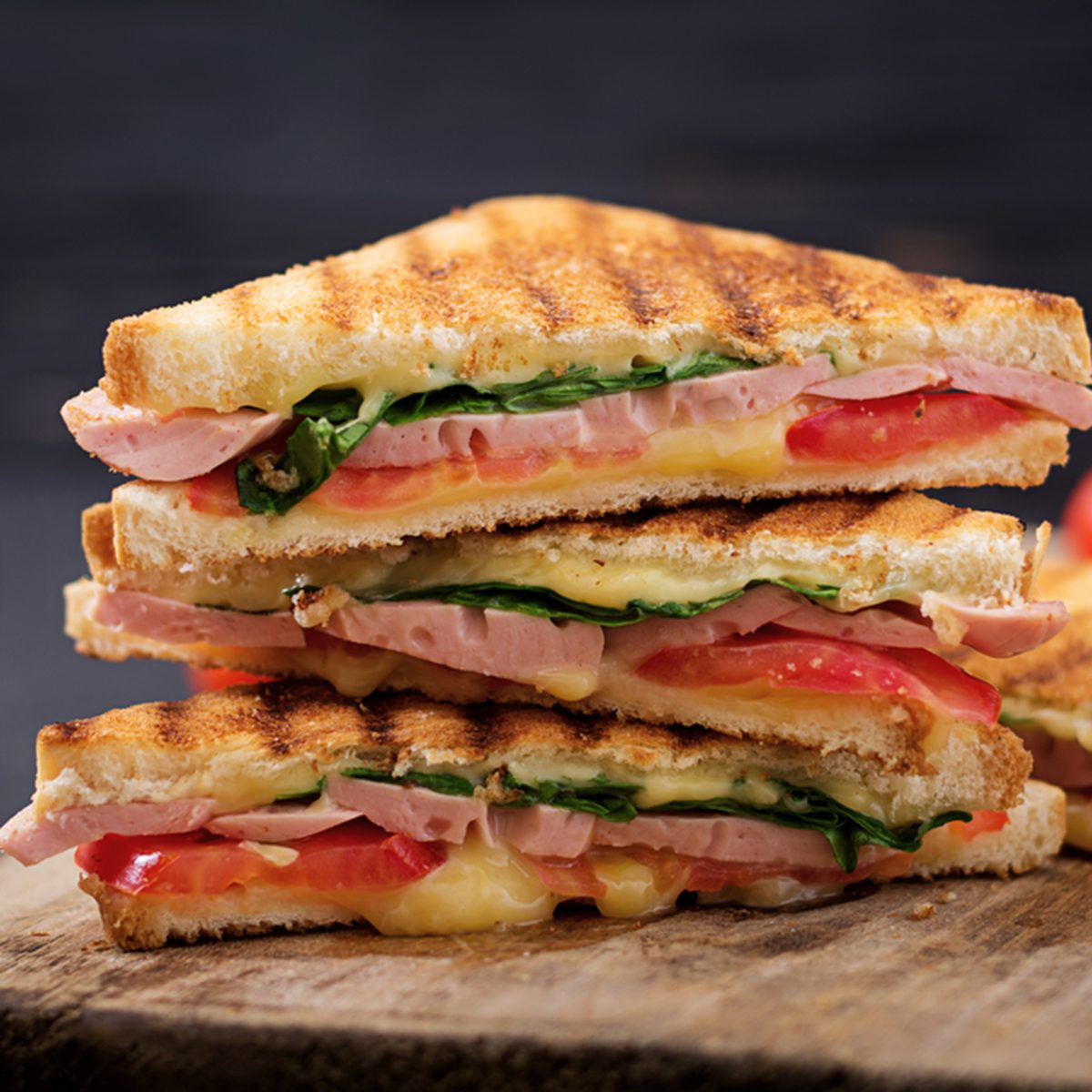 Panini sandwiches stacked together