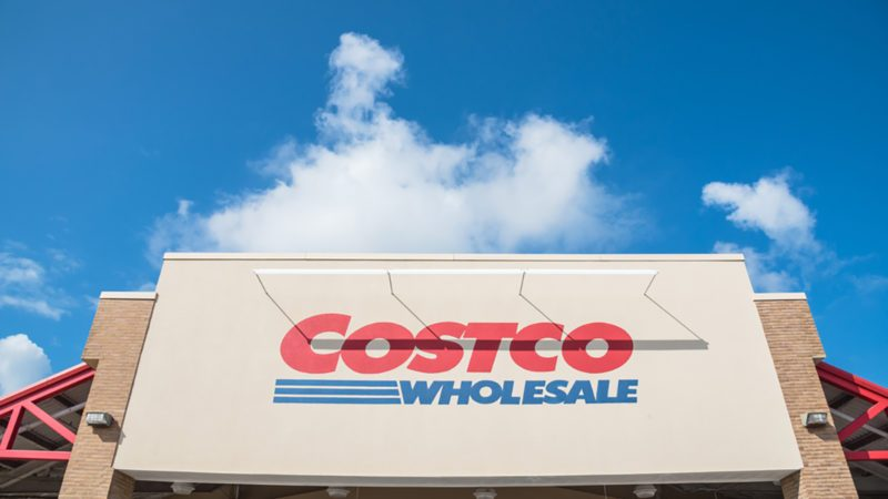 close up facade and logo of costco storefront costco wholesale corporation is largest membership