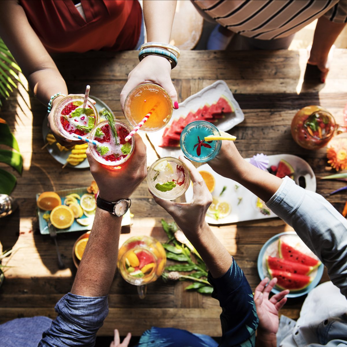 Friends party drinks healthy gathering