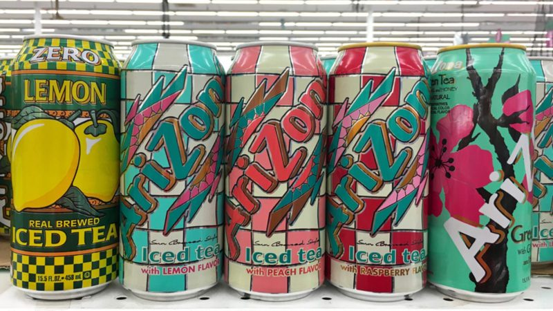 San Leandro, CA - October 18, 2017: Grocery store shelf with cans of Arizona brand iced teas. Arizona is America's number one selling brand of ice teas.; Shutterstock ID 737934946