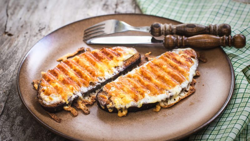 Grilled cheese sandwich, welsh rarebit, selective focus
