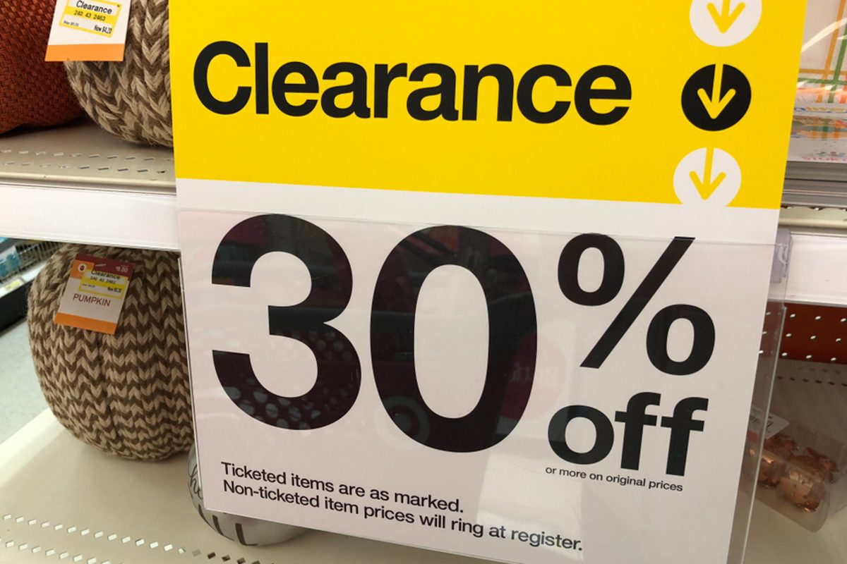 NOVEMBER 27 2017 - CRYSTAL, MN: A Target 30% off clearance sign posted to a shelving display informs customers of discounted merchandise; Shutterstock ID 764485735; Job (TFH, TOH, RD, BNB, CWM, CM): Taste of Home