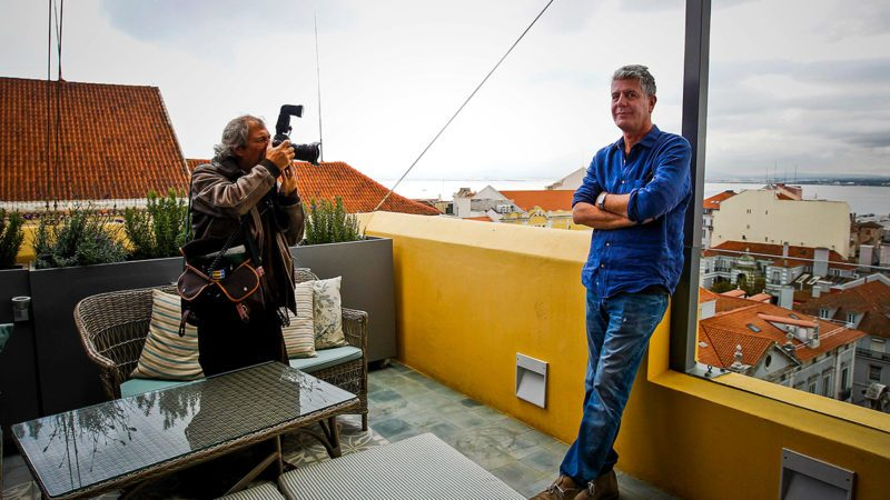Chef Anthony Bourdain poses during the recording of his television program in Lisbon, Portugal.