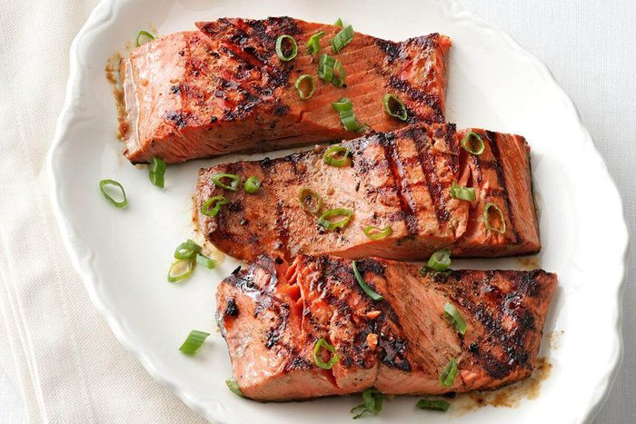Grilled salmon for two