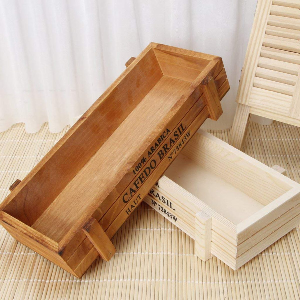 Kagnice Vintage Wood Garden Rectangular Plant Container Box