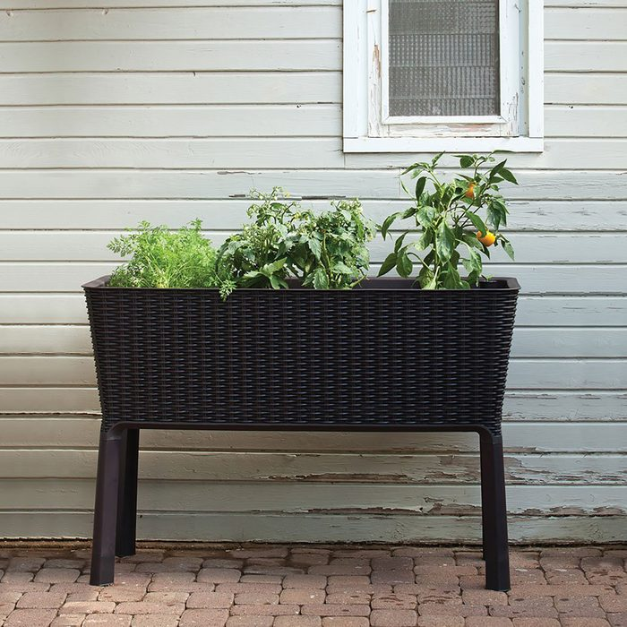 planter stand on patio