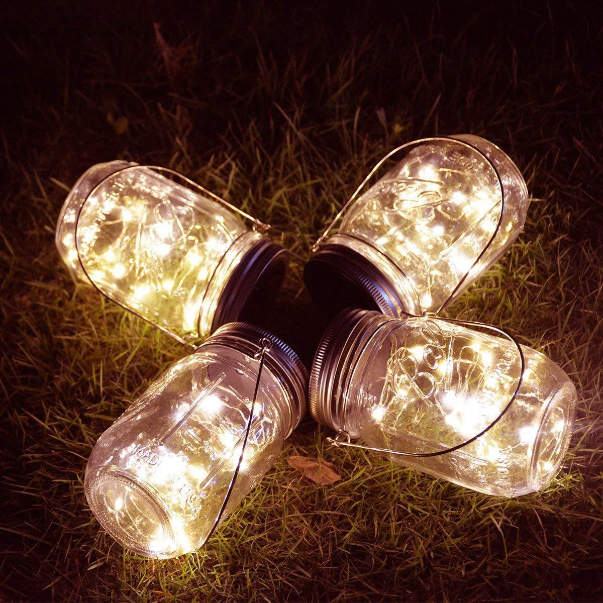Homeleo 4 Pack Vintage Outdoor Solar Mason Jar Light Set