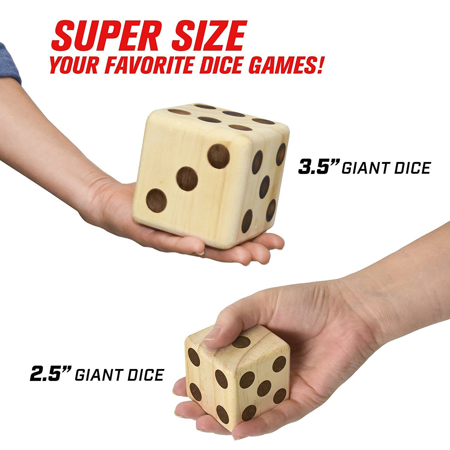 Huge wooden playing dice