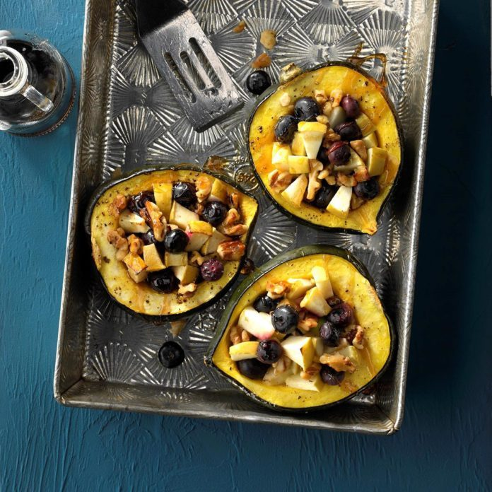 Baked Acorn Squash with Blueberry-Walnut Filling