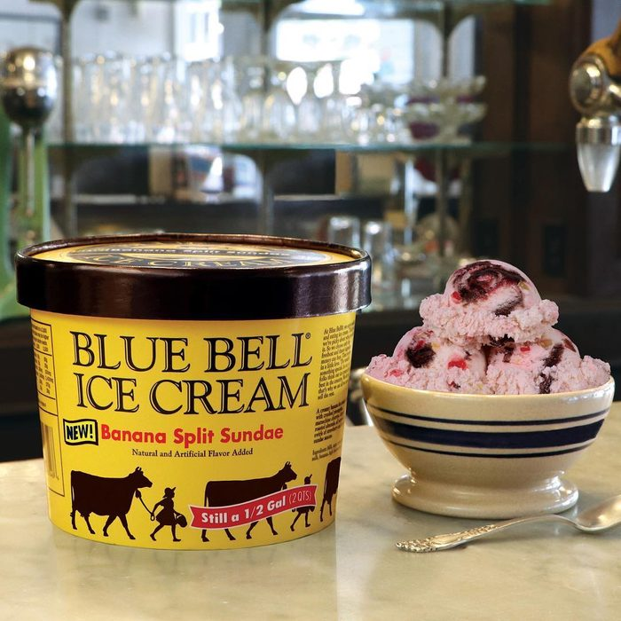 Blue Bell ice cream in a bowl