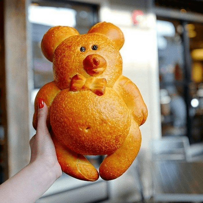 Person holding up a huge edible bear
