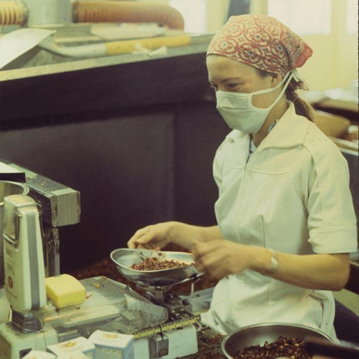 Woman weighing tea at Celestial Seasonings