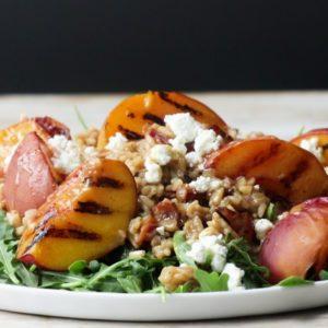 Grilled Peach, Rice and Arugula Salad