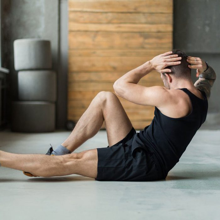 Man exercising on the floor