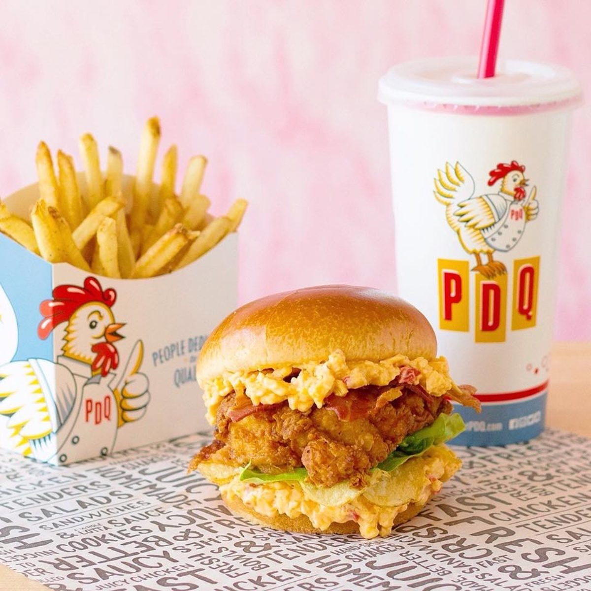 PDQ fries, burger and shake