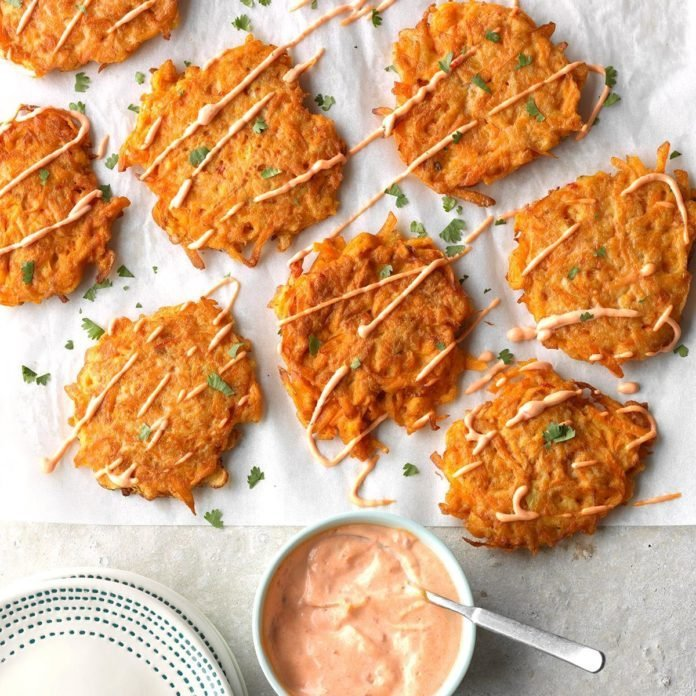 Harissa Sweet Potato Fritters