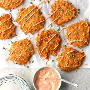 Harissa Sweet Potato Fritters