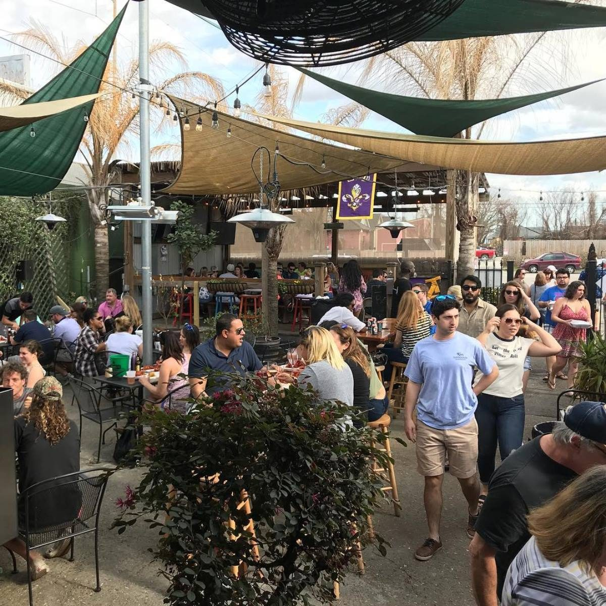 People enjoying the Bayou Beer Garden