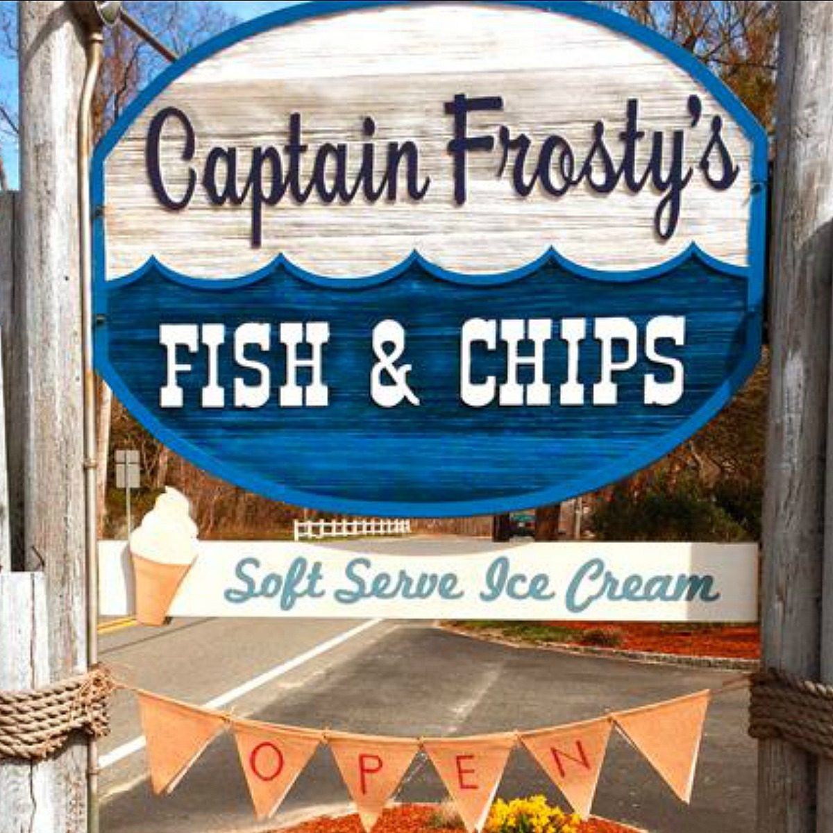 Sign outside Captain Frosty's Fish & Chips
