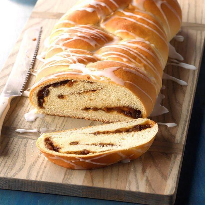 A mincemeat filled bread braid.