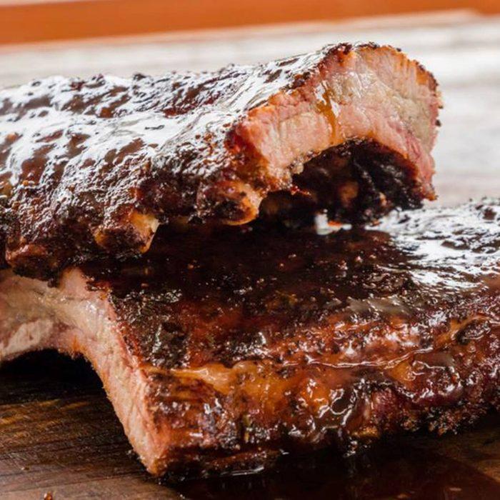 Close-up of two racks of ribs at Pig & Pint
