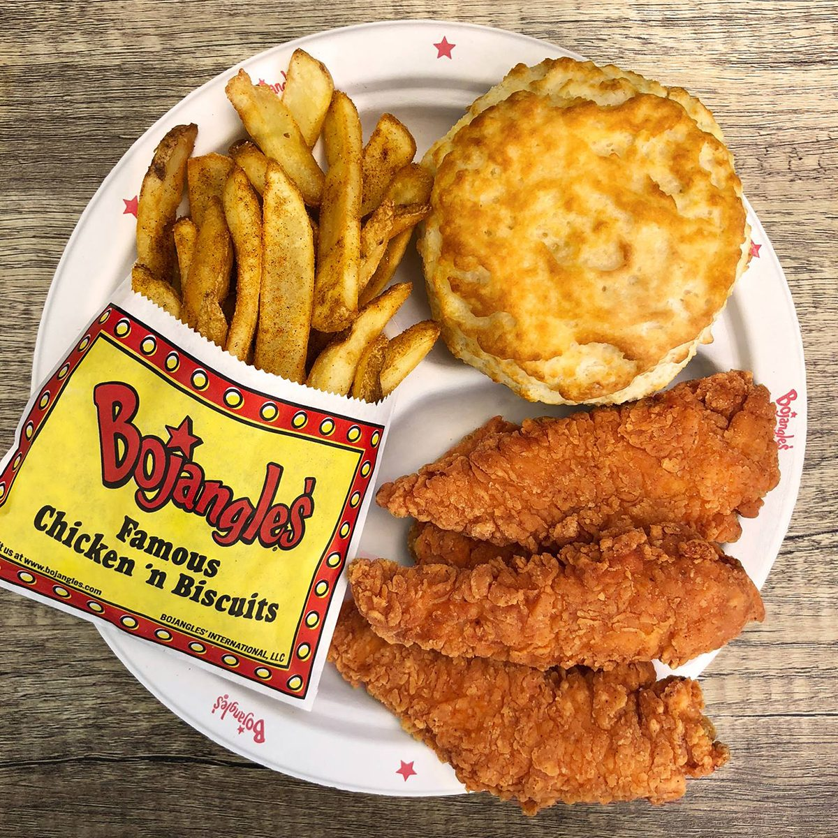 Bojangles' chicken strips, biscuit and fries