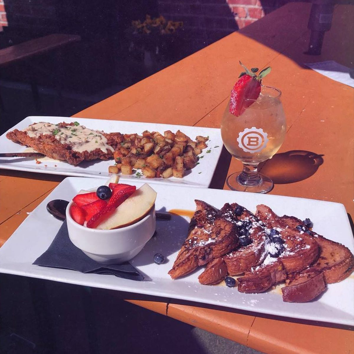 Close-up of french toast and fruit at Benson Brewery