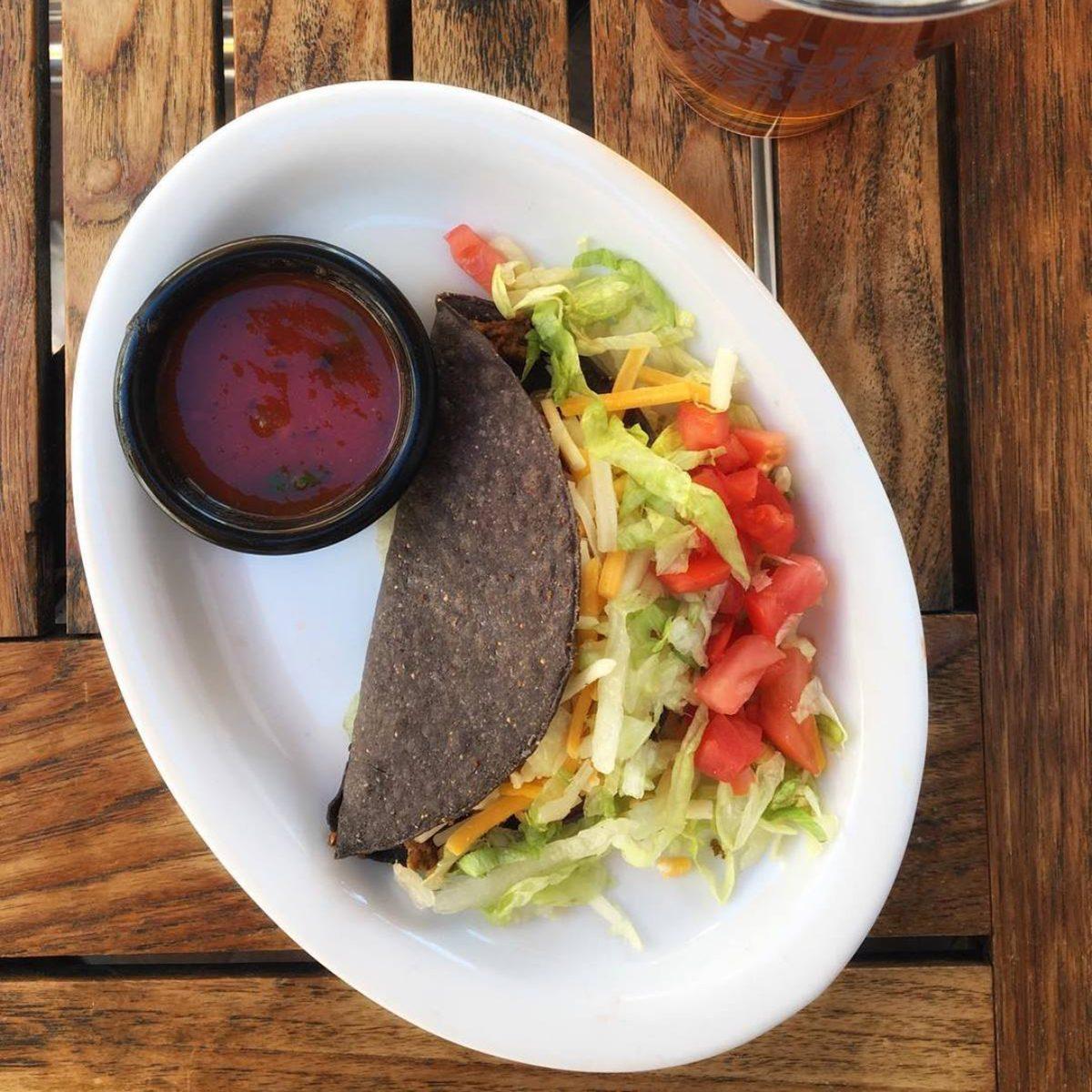 Close-up of blue corn taco at Blue Corn Cafe