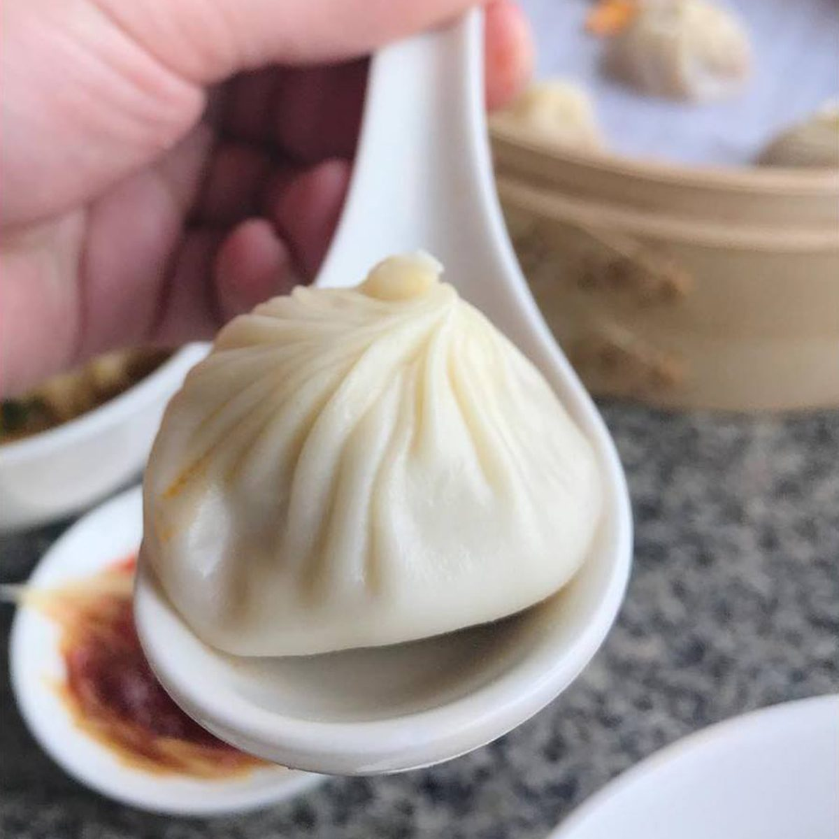 Close-up of a dumpling on a spoon