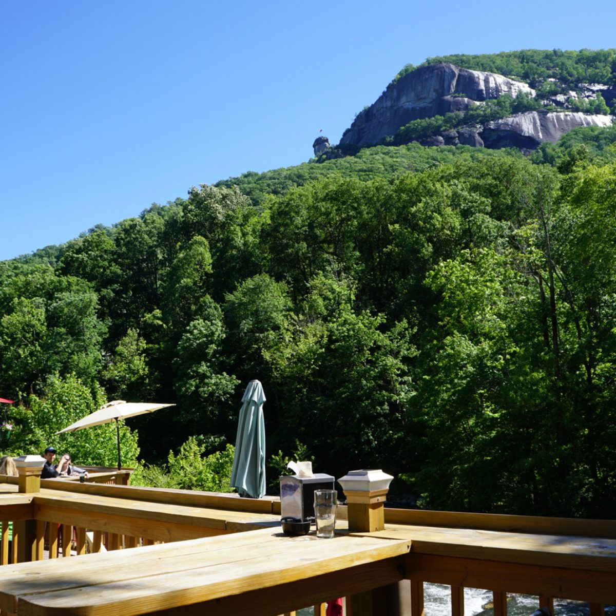Patio beer garden overlooking a scenic gorge