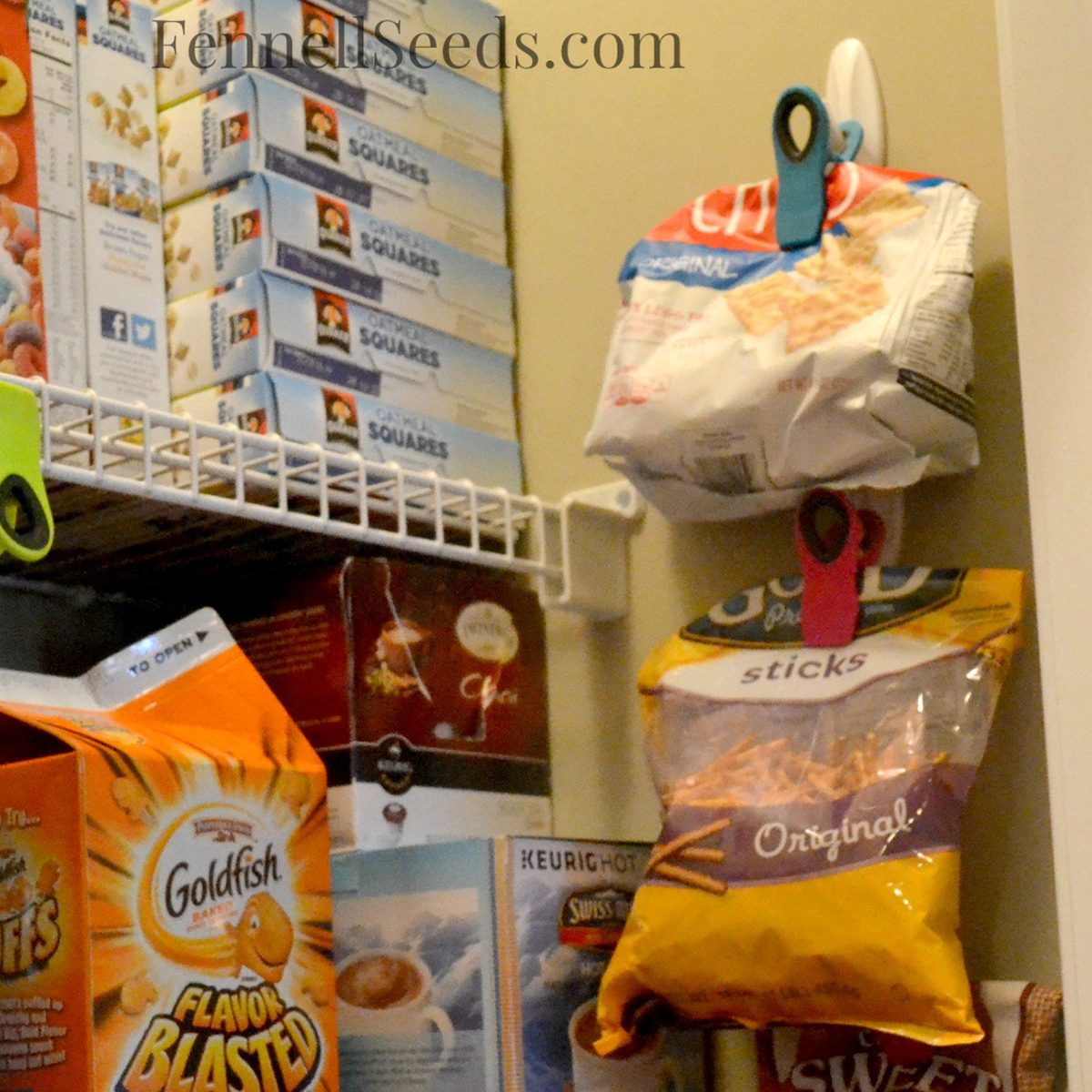 Chips clipped onto the wall of the pantry