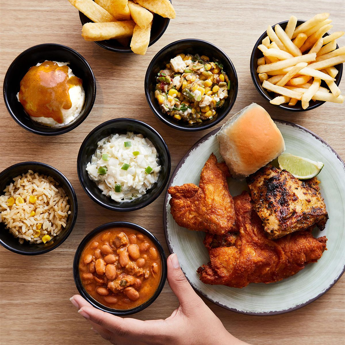 Chicken strips, sandwich and multiple sides