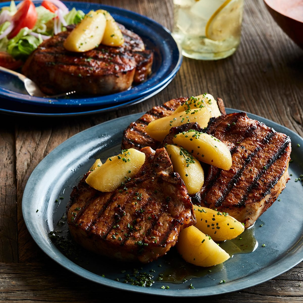 Roger Mooking's Smokehouse Maple-Brined Pork Chops.