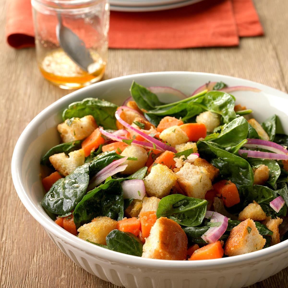 Sweet Potato Panzanella with Spinach
