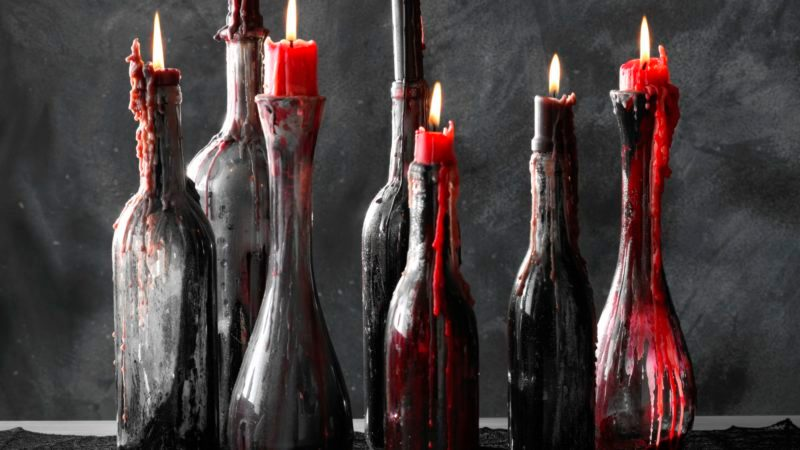 upcycled wine bottle candle holders