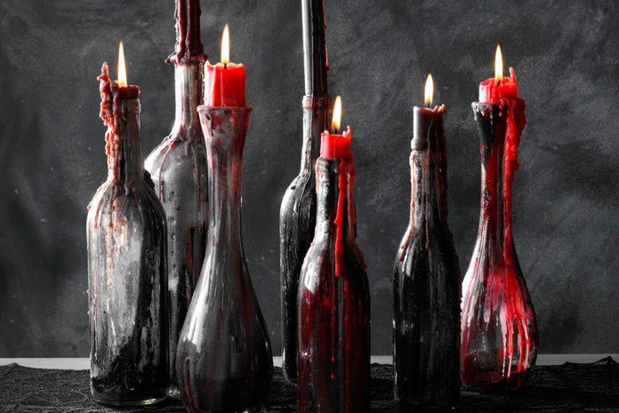 upcycled wine bottle candle holders
