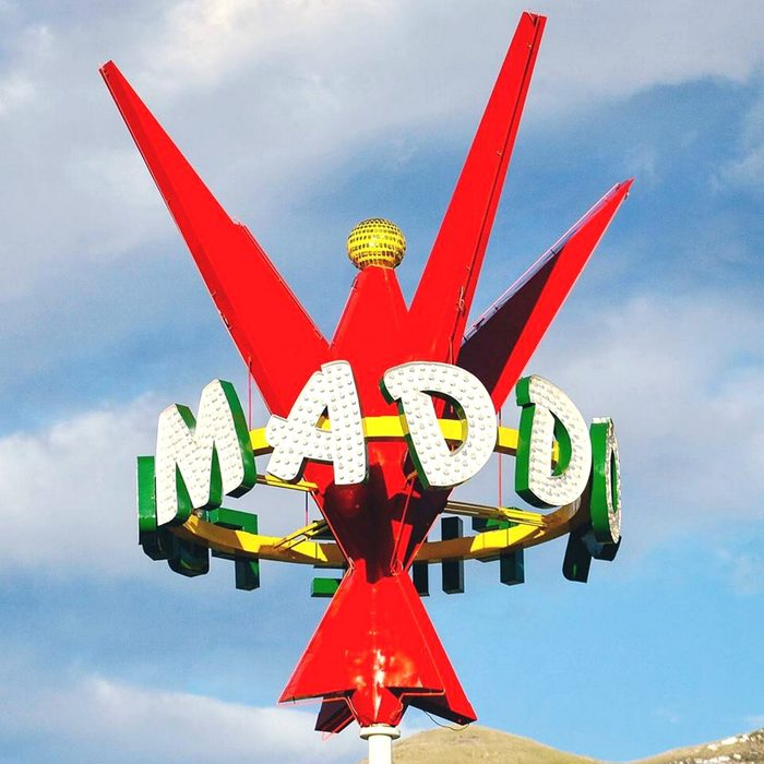 Bright red sign for Maddox Ranch House