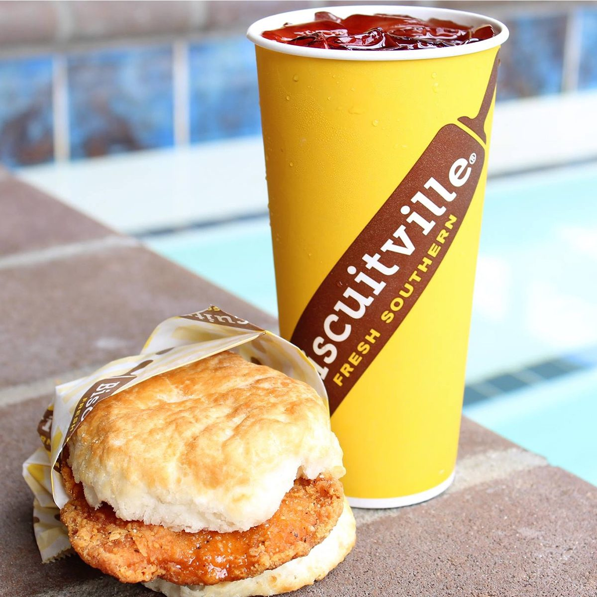 Biscuitville biscuit sandwich and drink