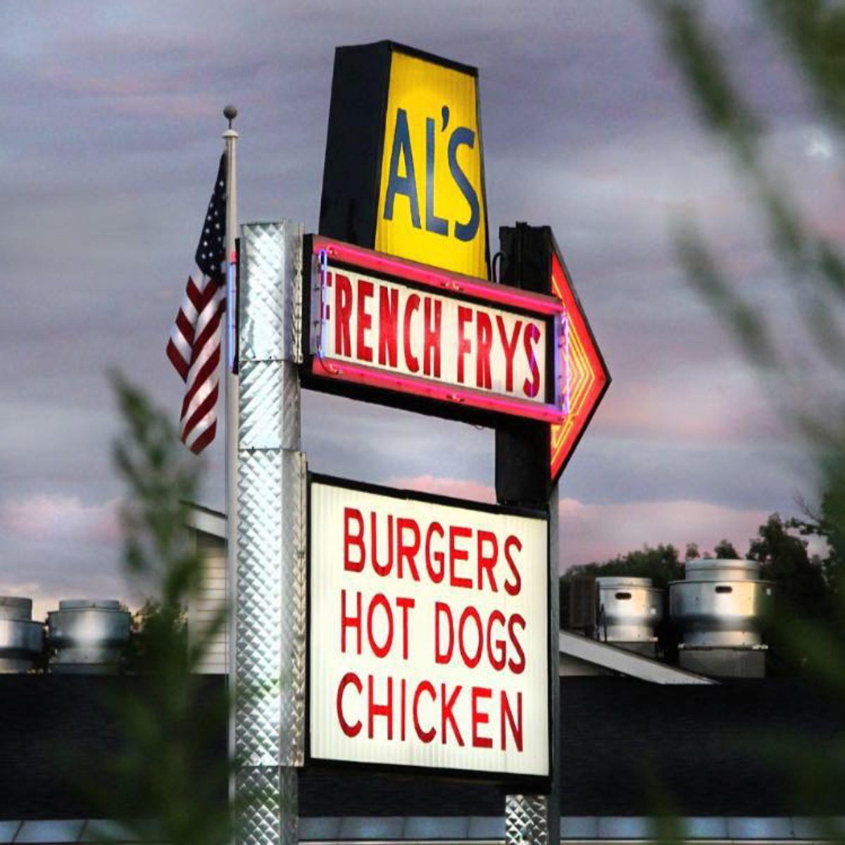 Sign outside for Al's French Frys