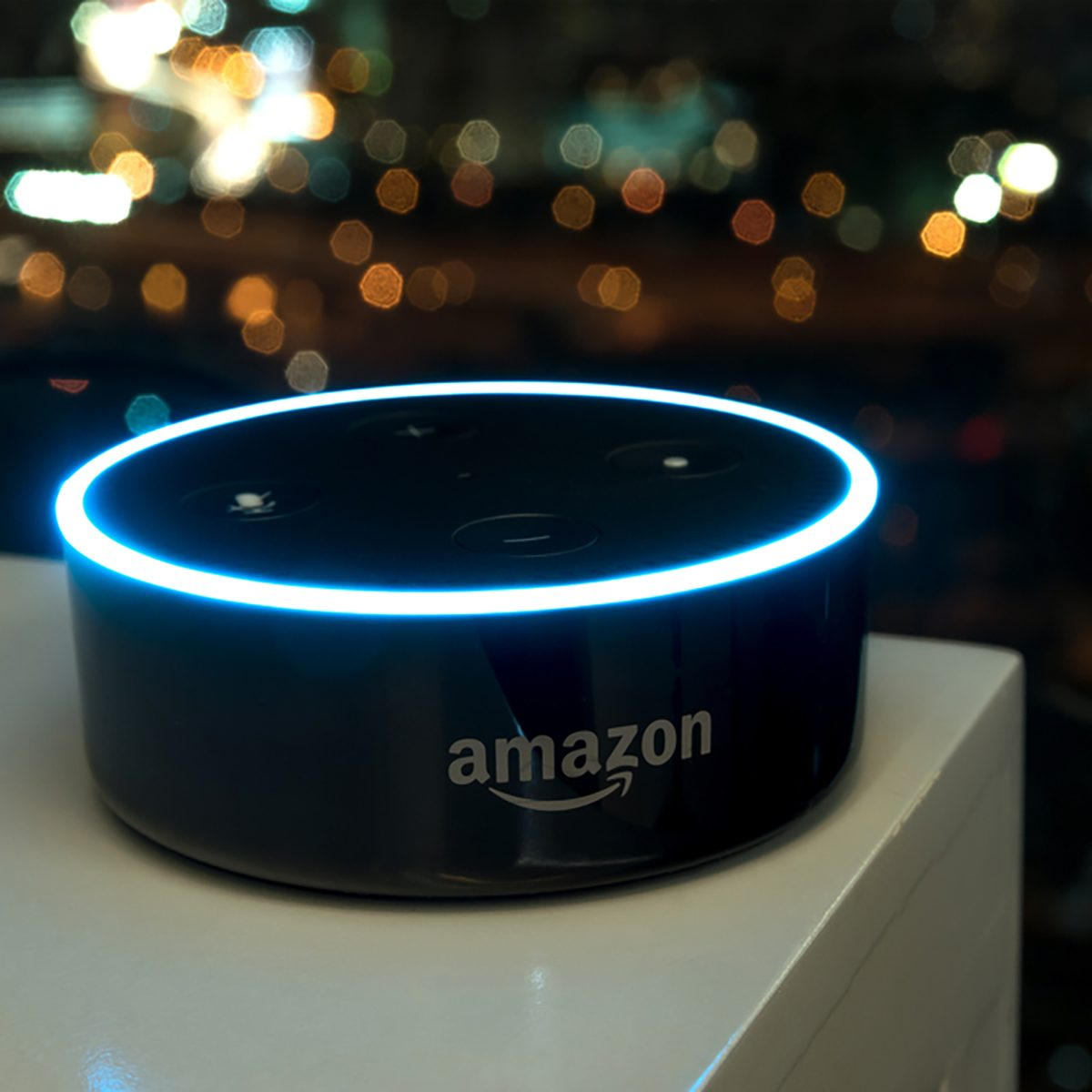 Kuala Lumpur, Malaysia - Fabruary 24 : Selective focus on Amazon Echo dot version 2, the voice recognition streaming device from Amazon on table. February 24 2017 in Kuala Lumpur, Malaysia; Shutterstock ID 593309003; Job (TFH, TOH, RD, BNB, CWM, CM): TOH Amazon Echo