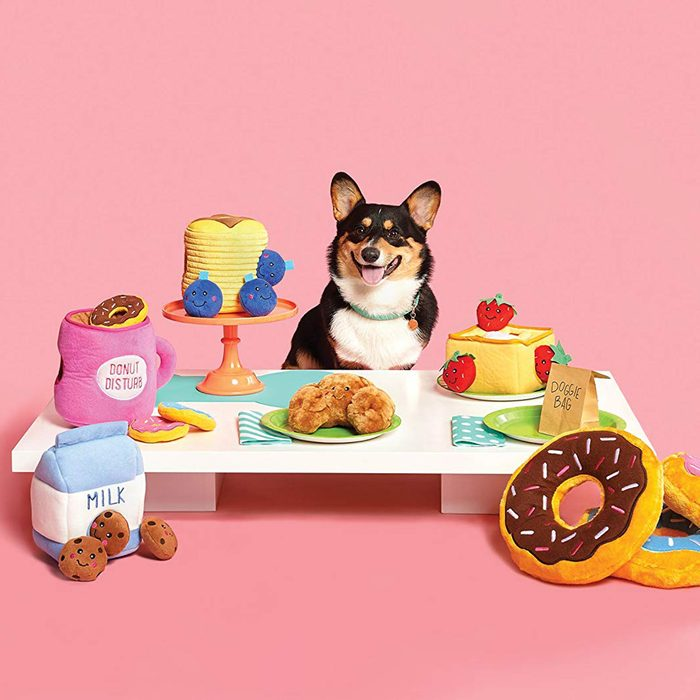 gifts for chocolate cookie lovers, milk and cookies dog toy