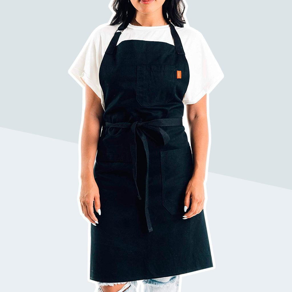 Caldo Cotton Kitchen Apron - Mens and Womens Professional Chef Bib Apron - Adjustable Straps with Pockets and Towel Loop