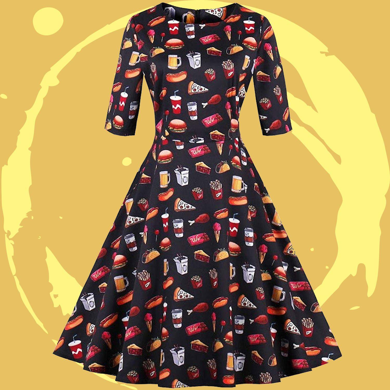 Ayli Women's 3/4 Sleeve 1950s Retro Vintage Hollywood Star Party Large Swing Midi Dress