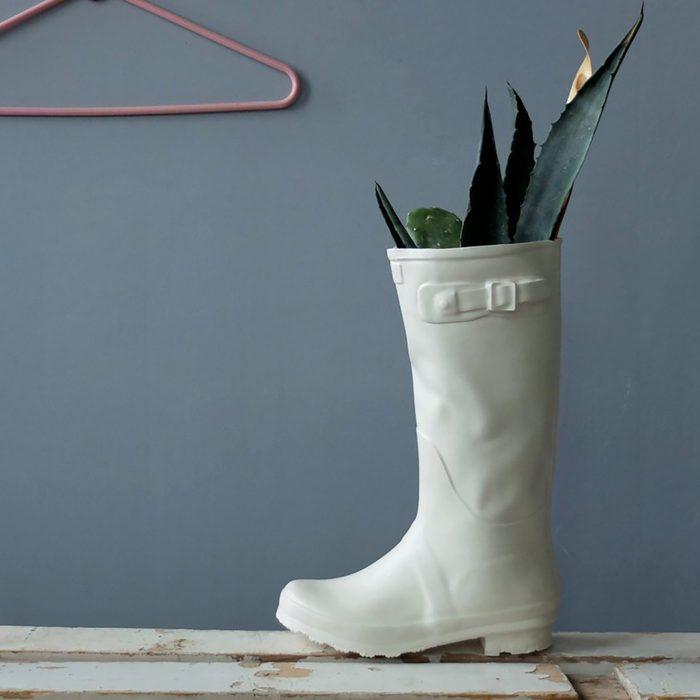 rain boot vase or sculpture