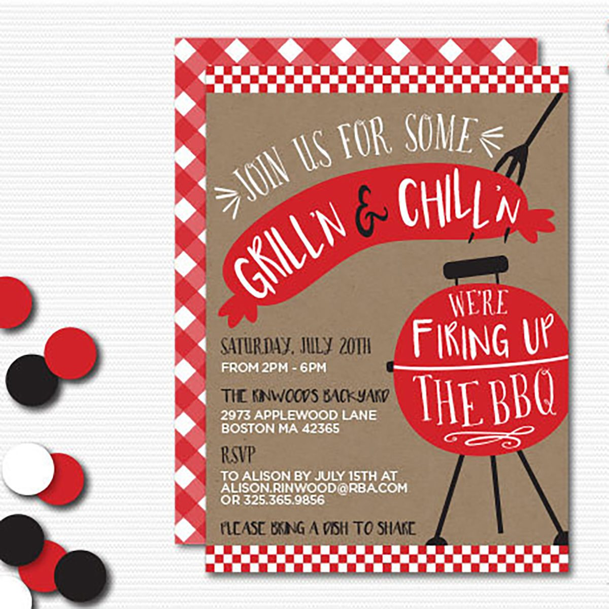 grilling party invitation with red BBQ