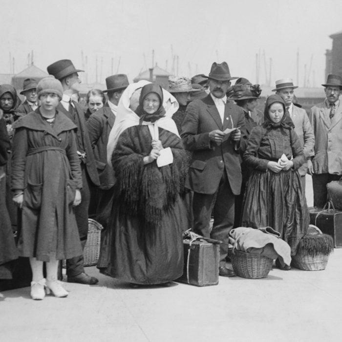 Newly arrived European immigrants at Ellis Island