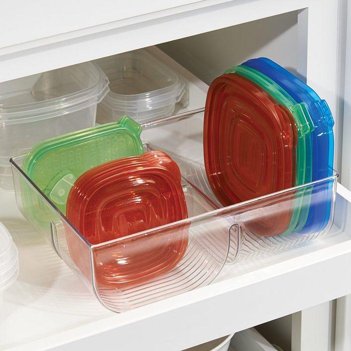 mDesign Food Storage Lid Organizer for Kitchen Cabinet
