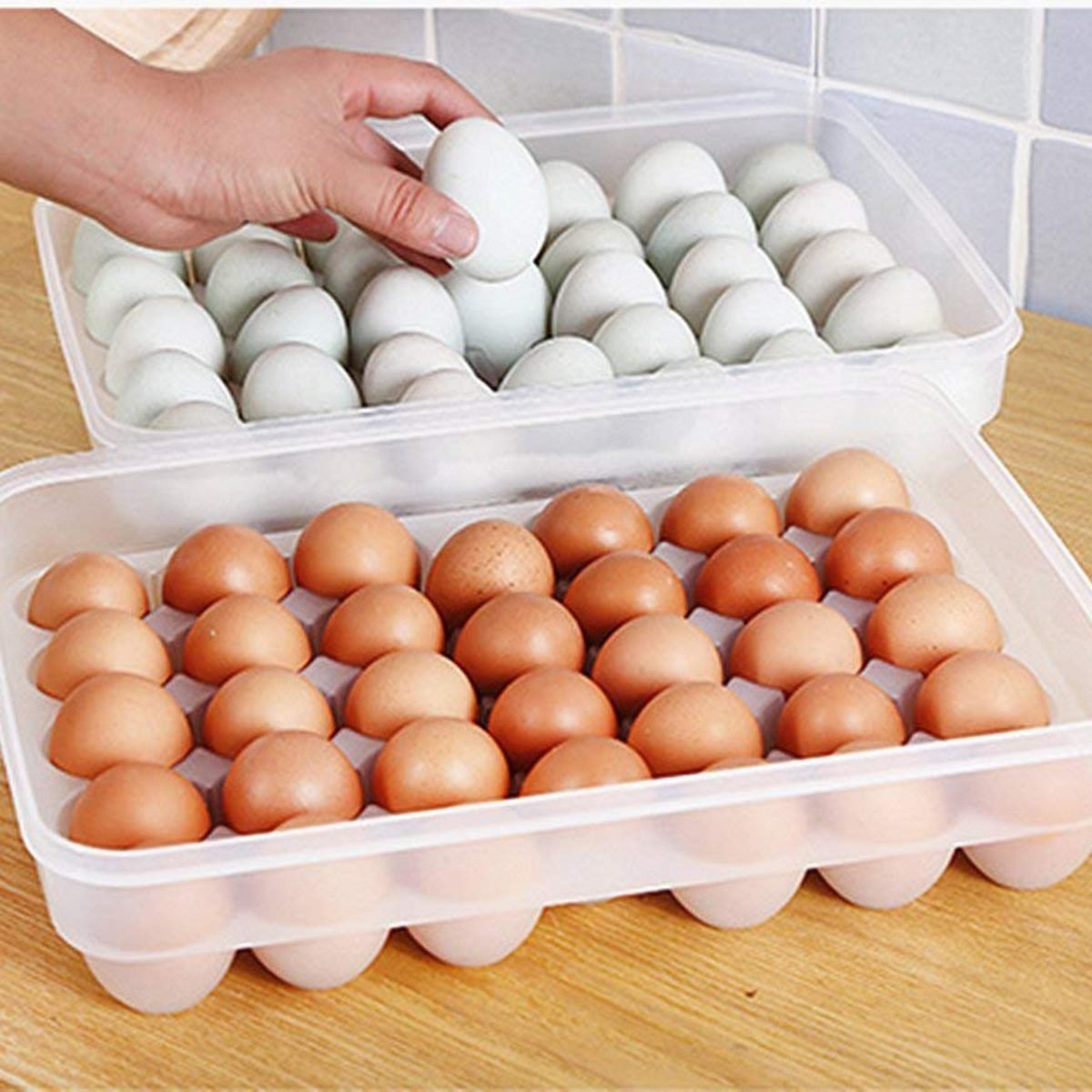 leoyoubei Large capacity Eggs Food Storage Organizer for Kitchen Restaurant Fridge Storage