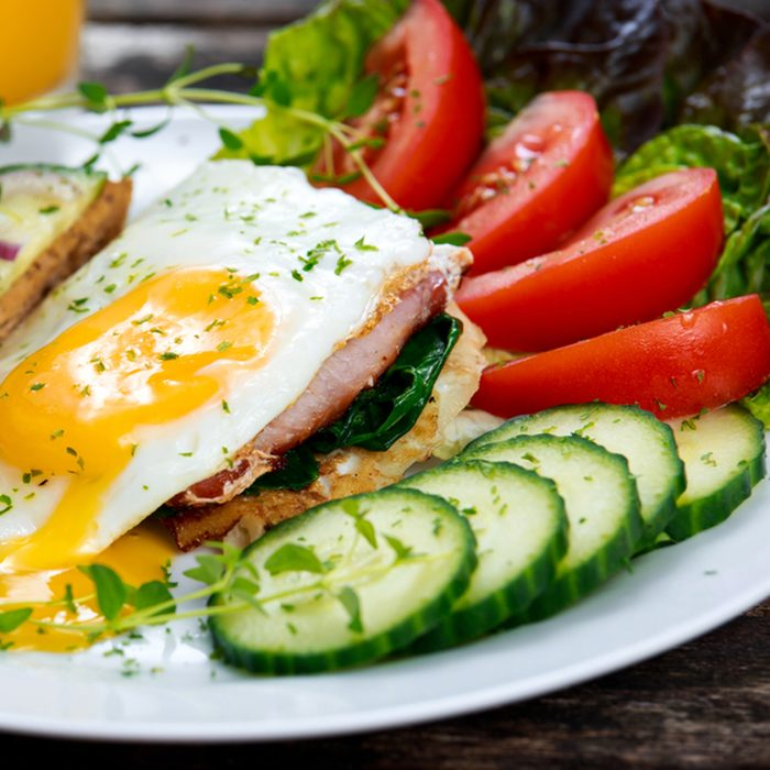 Morning Breakfast - toast sandwich, egg, bacon, and vegetables
