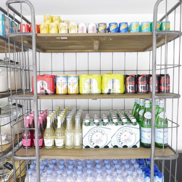 Wire pantry filled with items